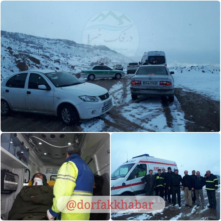 خودروی کلانتری جیرنده به دره کرماک سقوط کرد